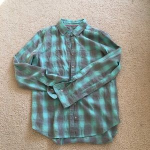 Blue and Grey Plaid Dot Button Down